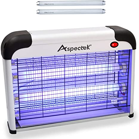 7. ASPECTEK Upgraded 20W Electronic Bug Zapper, Insect Killer - Mosquito, Fly, Moth, Wasp Killer for Indoor -Including 2 Pack Free Replacement Bulbs