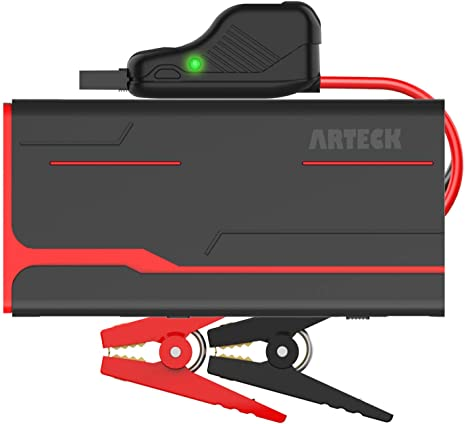 7. Arteck 800A Peak 18000mAh Car Jump Starter (up to 7.0L Gas, 5.5L Diesel Engine) with LCD Screen