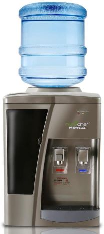 9. Nutrichef Countertop Water Cooler Dispenser - Hot & Cold Water, with Child Safety Lock. (Silver)