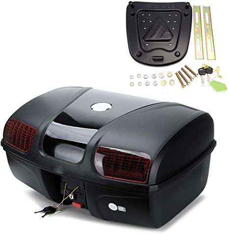 5. AUTOINBOX Universal Motorcycle Rear Top Box Tail Trunk Luggage Case, 47 Litre Hard Case with Mounting Hardware