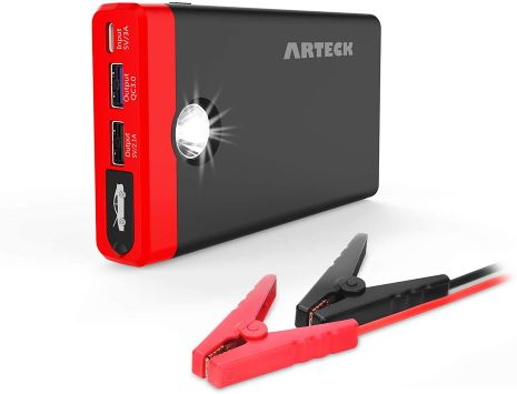6. Arteck Car Jump Starter Auto Battery Charger and 12000mAh Quick Charge 3.0 & USB-C External Battery Charger