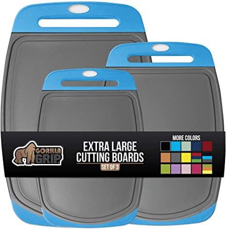 6. Gorilla Grip Original Oversized Cutting Board, 3 Piece, Juice Grooves, Larger Thicker Boards, Easy Grip Handle