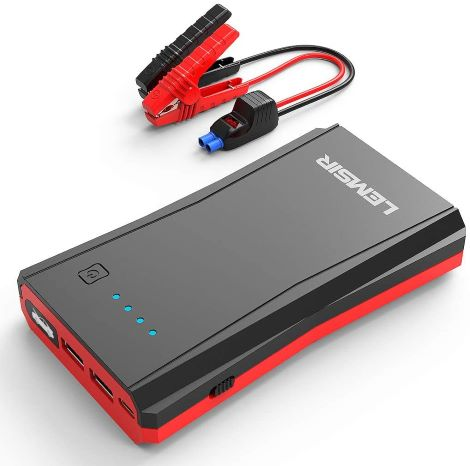 5. LEMSIR 800Amps QDSP 800A Peak Portable Car Lithium Jump Starter up to 7.2L Gas or 5.5L Diesel