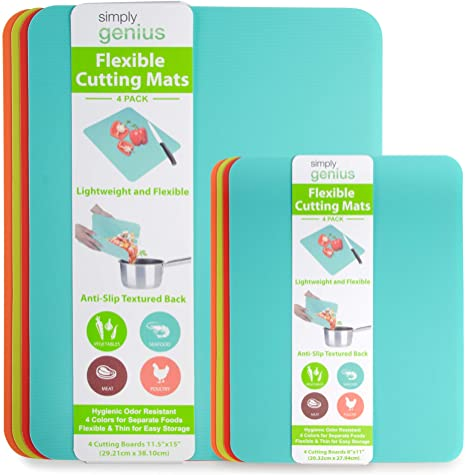 4. Simply Genius (8 Piece) Extra Thick Cutting Boards for Kitchen Prep, Non Slip Flexible Cutting Mat Set
