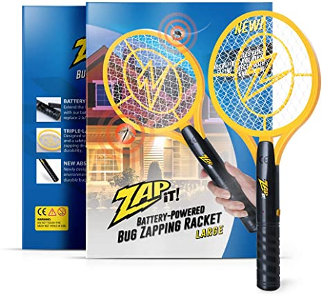 9. ZAP IT! Bug Zapper - Battery Powered (2xAA) Mosquito, Fly Killer and Bug Zapper Racket - 3,500 Volt - Safe to Touch (Large, Yellow)