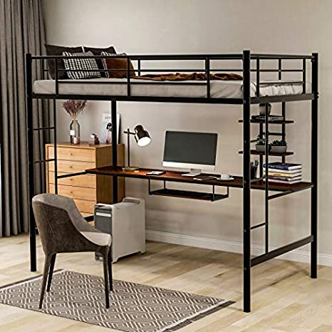 3. Harper & Bright Designs Metal Loft Bed Twin Size with Desk, Loft Bed Full-Length Guardrail, No Box Spring Needed (Black)