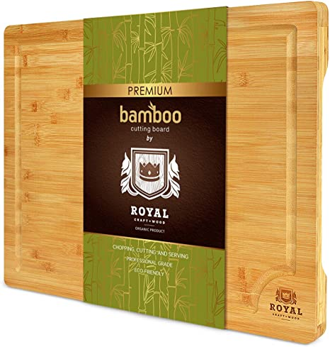 3. XXL Bamboo Cutting Board for Kitchen with Juice Groove - Wooden Chopping Board for Meat, Vegetables, Fruit and Cheese