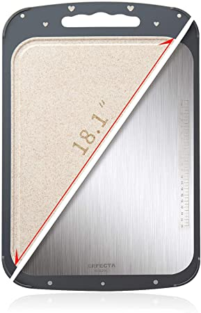 7. ERFECTA Cutting Board Double-Sided, Kitchen Knife Friendly, 316 Stainless Steel and Wheat Straw PP