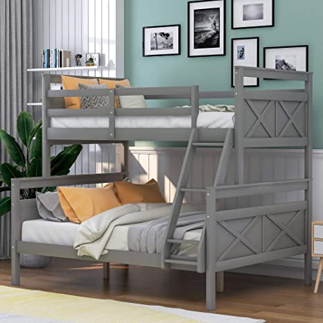 2. P PURLOVE Twin Over Full Bunk Bed Twin Over Full Loft Bed Wood Bunk Bed with Ladder, Safety Guardrail for Kids/Teens
