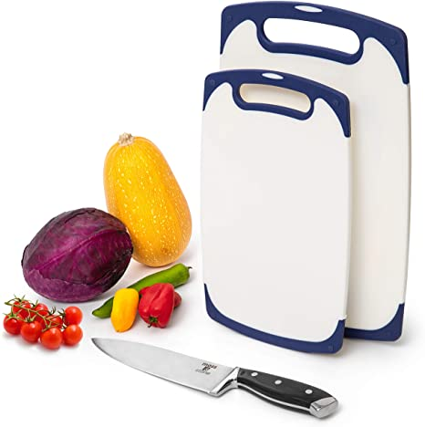 9. Moss & Stone 2 Piece Cutting Boards for Kitchen & Chef Knife | Polypropylene and Dishwasher Safe