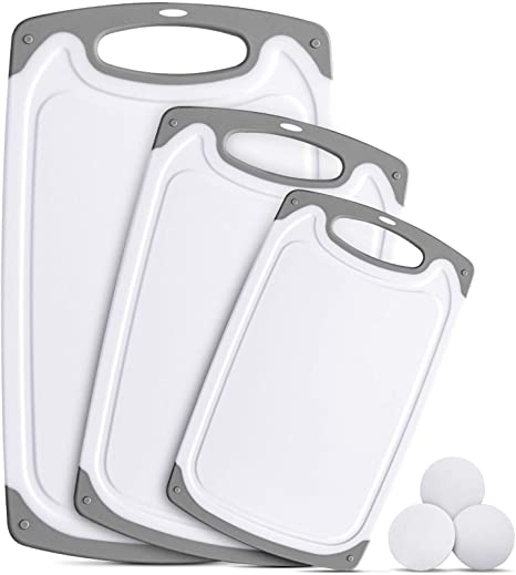 8. Ligttle Plastic Cutting Board Set of 3, BPA Free Kitchen Cutting Boards with Juice Grooves and Easy Grip Handle