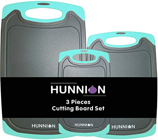 1. HUNNION Kitchen Cutting Board 3 Piece Set : Juice Grooves with Easy-Grip Handles, BPA-Free, Non-Porous, Dishwasher Safe