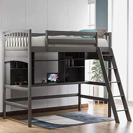 1. Harper & Bright Designs Twin Loft Beds with Desk and Shelves, Wood Bunk Beds with Desk, No Box Spring Needed (Grey, Twin)
