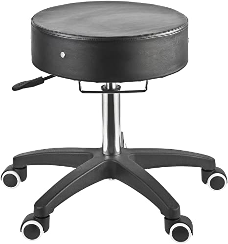 2. Master Massage Deluxe Glider Rolling Stool, Larger Seat Better Wheels with Grab Bar, Black
