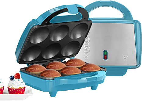 2. Holstein Housewares HF-09013T Full Size Fun Cupcake Maker, Makes 6, Teal/Stainless Steel
