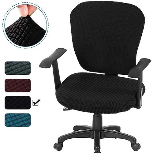 9. CAVEEN Office Chair Covers 2piece Stretchable Computer Office Chair Cover Universal Chair Seat Covers