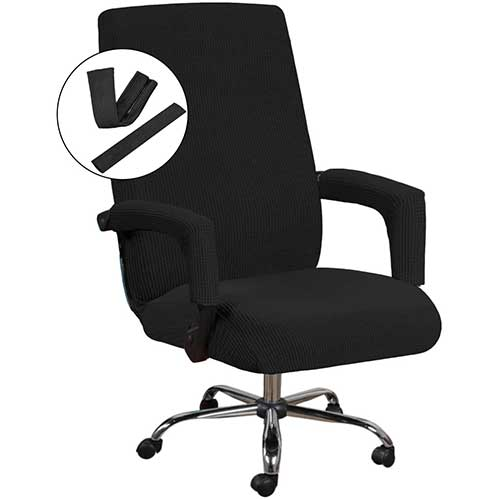 1. H.VERSAILTEX Office Chair Cover Black - Protective & Stretchable Universal Chair Covers Stretch Rotating Chair Slipcover
