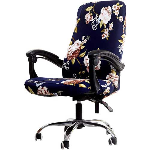 3. WOMACO Printed Office Chair Covers, Stretch Computer Chair Cover Universal Boss Chair Covers Modern Simplism Style