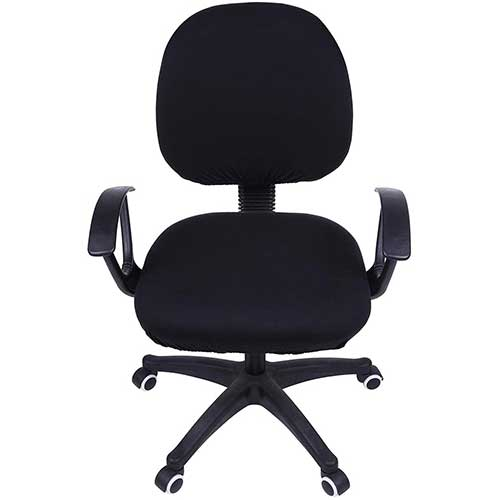 7. Smiry Stretch Print Computer Office Chair Cover, Removable Washable Universal Desk Rotating Chair Slipcover, Black