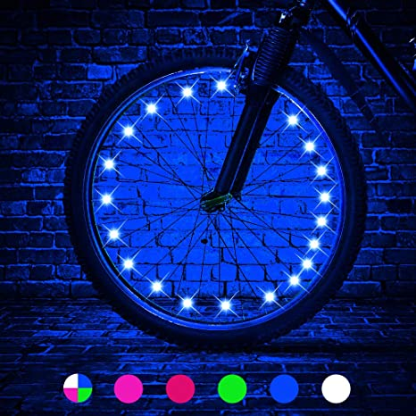 2. TINANA 2 Tire Pack LED Bike Wheel Lights Ultra Bright Waterproof Bicycle Spoke Lights Cycling Decoration
