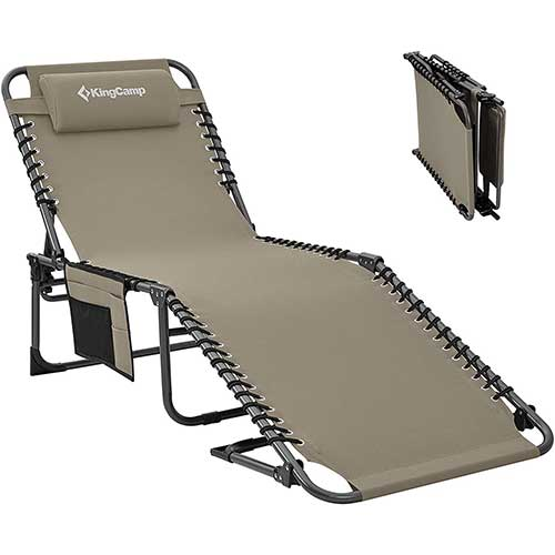 2. KingCamp 4-Fold Outdoor Folding Chaise Lounge Chair for Beach, Sunbathing, Patio, Pool, Lawn, Deck, Heavy-Duty Adjustable Camping Reclining Chair