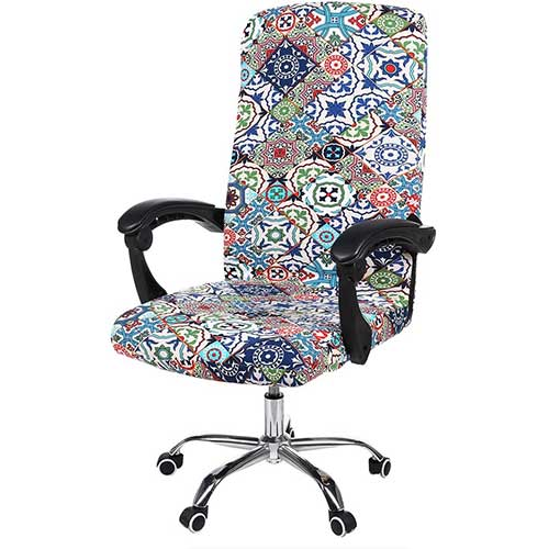 5. smiry Stretch Printed Computer Office Chair Covers, Soft Fit Universal Desk Rotating Chair Slipcovers