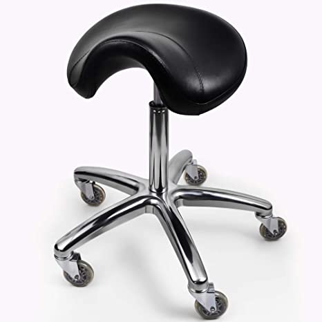 6. Professional Salon spa Saddle Chair and Rolling Saddle Stool. The Saddle Chair has Wheels, Luxurious Cushion