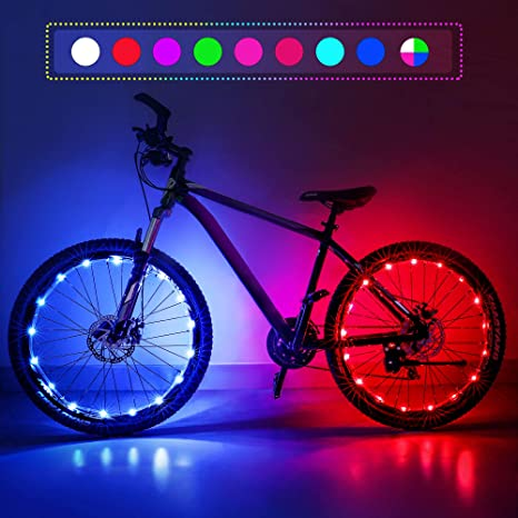 7. Nexillumi Upgrade Waterproof LED Bike Wheel Lights 2-Piece Set, with Batteries and Spoke Clips