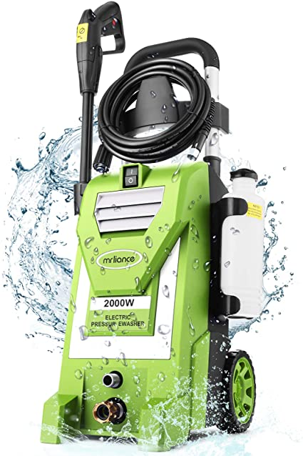 5. mrliance 3800PSI Pressure Washer 2000W 3.0GPM Electric Power Washer with 5 Nozzles, Detergent Tank, 35ft Power Cord