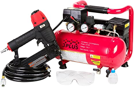 6. 3PLUS HCB050401 18-Gauge Brad Nailer and Quiet Air Compressor Combo kit
