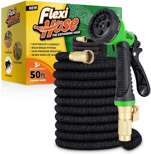 9. Flexi Hose with 8 Function Nozzle, Lightweight Expandable Garden Hose, No-Kink Flexibility, 3/4 Inch Solid Brass Fittings and Double Latex Core