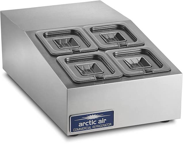6. Arctic Air ACP4SQ Compact Refrigerated Counter-Top Prep Unit with (4) 1/6 Stainless Pans & Covers Silver