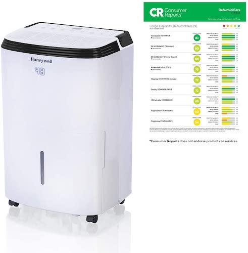 7.Honeywell Large SqFt Design & Filter Change Alert, TP70WKN, White TP70WK 70 Pint Energy Star Dehumidifier