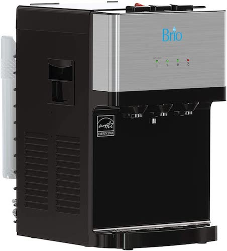 2. Brio Countertop Self Cleaning Bottleless Water Cooler Dispenser with Filtration - Hot Cold and Room Temperature Water