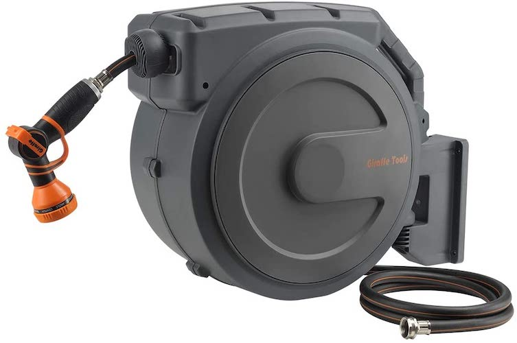"1. Giraffe Retractable Garden Hose Reel 1/2"" x 130 ft, Super Heavy Duty, Any Length Lock, Slow Return System, Wall Mounted"