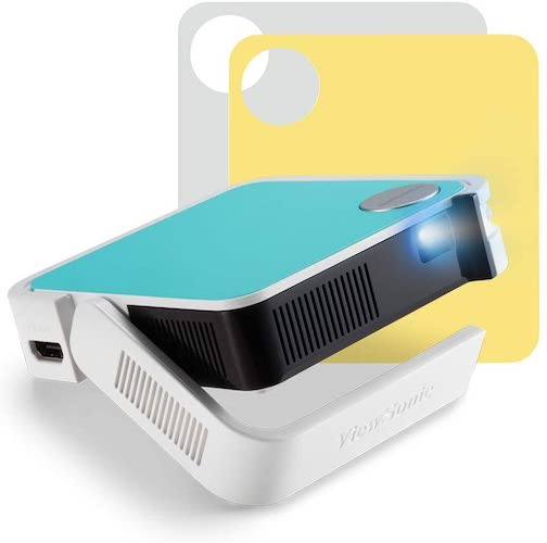 4.ViewSonic M1 Mini+ Smart Ultra Portable LED Projector with Bluetooth JBL Speakers,