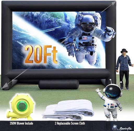 5.Sewinfla 20Ft Inflatable Movie Screen with 2 Replaceable Screen Cloth - Front and Rear Projection - Blow Up