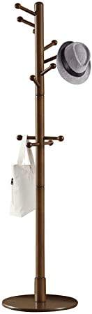 7. Vlush Sturdy Wooden Coat Rack Stand, Entryway Hall Tree Coat Tree with Solid Round Base