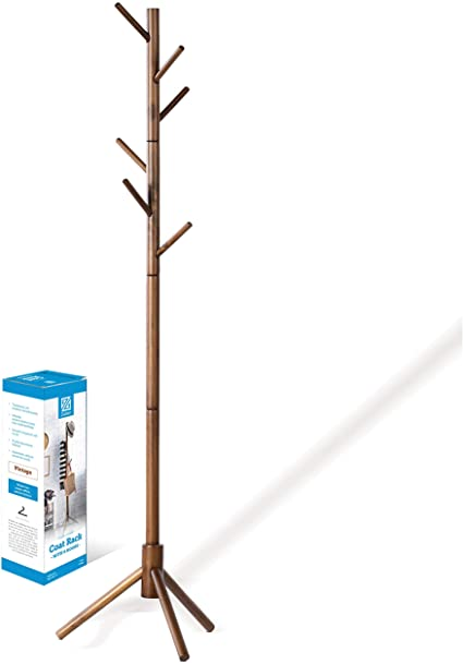 2. High-Grade Wooden Tree Coat Rack Stand, 6 Hooks - Super Easy Assembly NO Tools Required