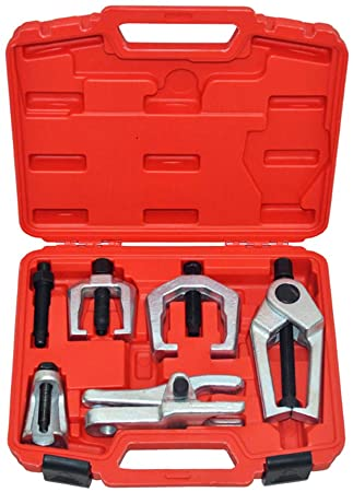 9. A ABIGAIL Front End Service Tools Set 5pcs Ball Joint Separator for Pitman Arm Tie Rod Puller with Red Suitcase Universal Use