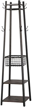 6. VECELO Industrial Coat Rack Enterway Clothes Stand with 2 Tier Storage Shelves/Basket, Upgrade Hall Trees