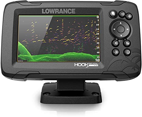 1. Lowrance Hook Reveal 5 Fish Finder - 5 Inch Screen with Transducer and C-MAP Preloaded Map Options