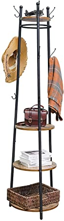 8. X-cosrack Coat Rack Stand with 4 Shelves, Industrial Entryway Free Standing Coat Hat Tree with 9 Hooks