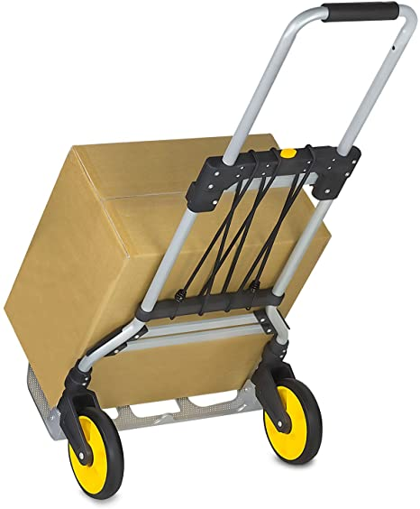 10. Mount-It! Folding Hand Truck and Dolly, 264 Lb Capacity Heavy-Duty Luggage Trolley Cart With Telescoping Handle and Rubber Wheels