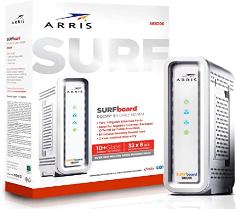 6. ARRIS SURFboard SB8200 DOCSIS 3.1 Gigabit Cable Modem, Approved for Cox, Xfinity, Spectrum & others