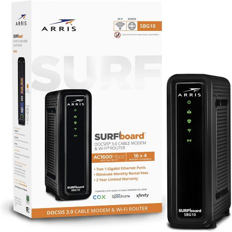 4. ARRIS SURFboard SBG10 DOCSIS 3.0 Cable Modem & AC1600 Dual Band Wi-Fi Router