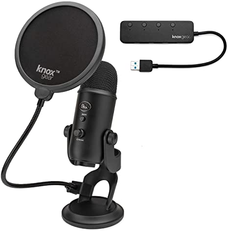 10. Blue Yeti Microphone (Blackout) with Knox Gear Pop Filter and 3.0 4 Port USB Hub Bundle