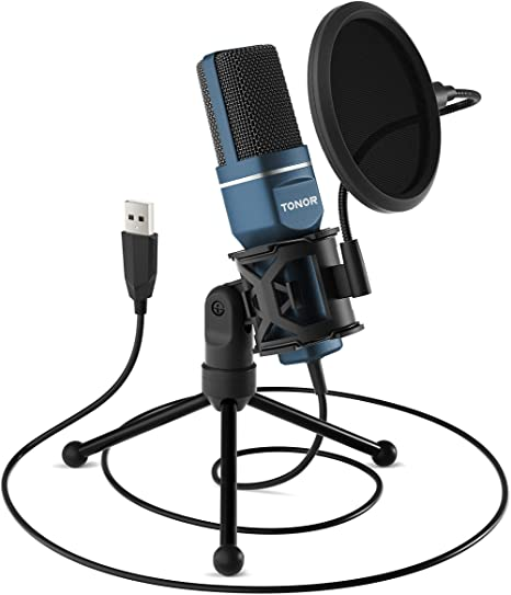 2. USB Microphone, TONOR Computer Condenser PC Gaming Mic with Tripod Stand & Pop Filter for Streaming, Podcasting, Vocal Recording