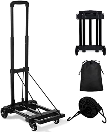 2. Orange Tech Folding Hand Truck, 155 lbs Heavy Duty Luggage Cart, 4 Wheels Solid Construction, Portable Fold Up Dolly