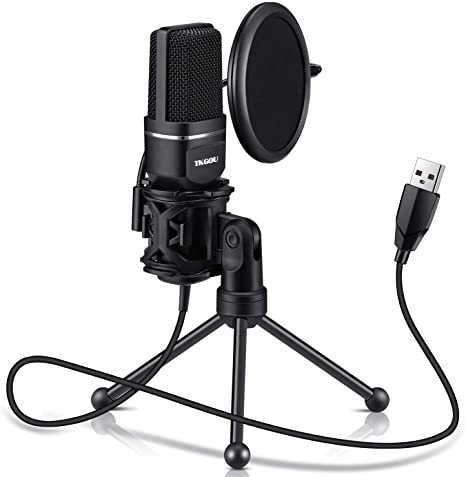 3. USB Microphone for Computer, Gaming PC Recording Condenser Microphone Tripod Stand & Pop Filter